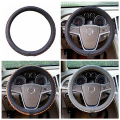 Universal 38cm Leather Car Steel Ring Wheel Cover 3 Colors