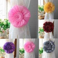 1 Pair Rose Flower Window Curtain Tie Back Clip-on Fastener For Home Decor