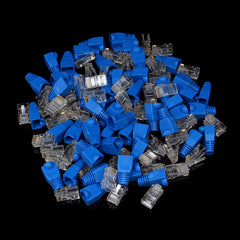 50 Pairs RJ45 Cat5 8P8C Cable LAN Modular Network Plug Blue Connector Cap Head Boot