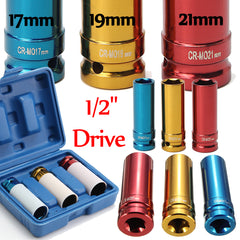 3Pcs Alloy Wheel Nut Thin Wall DEEP Impact Socket Set 1/2inch Drive 17mm 19mm 21mm