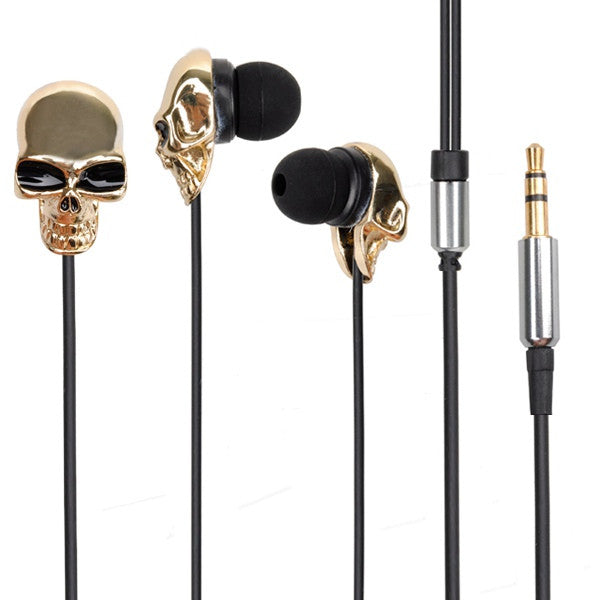 Halloween Skull Metal In Ear Earphone Headset Cable For Cellphone