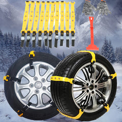 10Pcs Anti Skid Chains+1pcs Shovel+A pair Gloves Car Tools for 185-295mm Tires