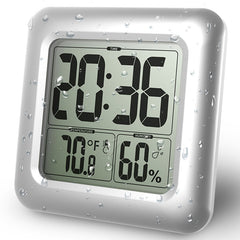 BALDR B0006TH Waterproof Shower Clock Watch Temperature Humidity Tester Timer Desk Bathroom Kitchen Table Thermometer Wall Clock