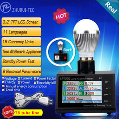 LPT200 AC Power Energy Monitor Digital Electricity Meter KWH Meter Watt Meter Power Analyzer 11 Languages 16 Currency