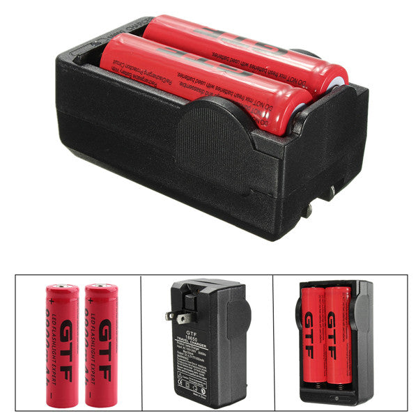 1x Double Charger 18650 + 2x 18650 Rechargeable Batteries-Double Charger + Batteries