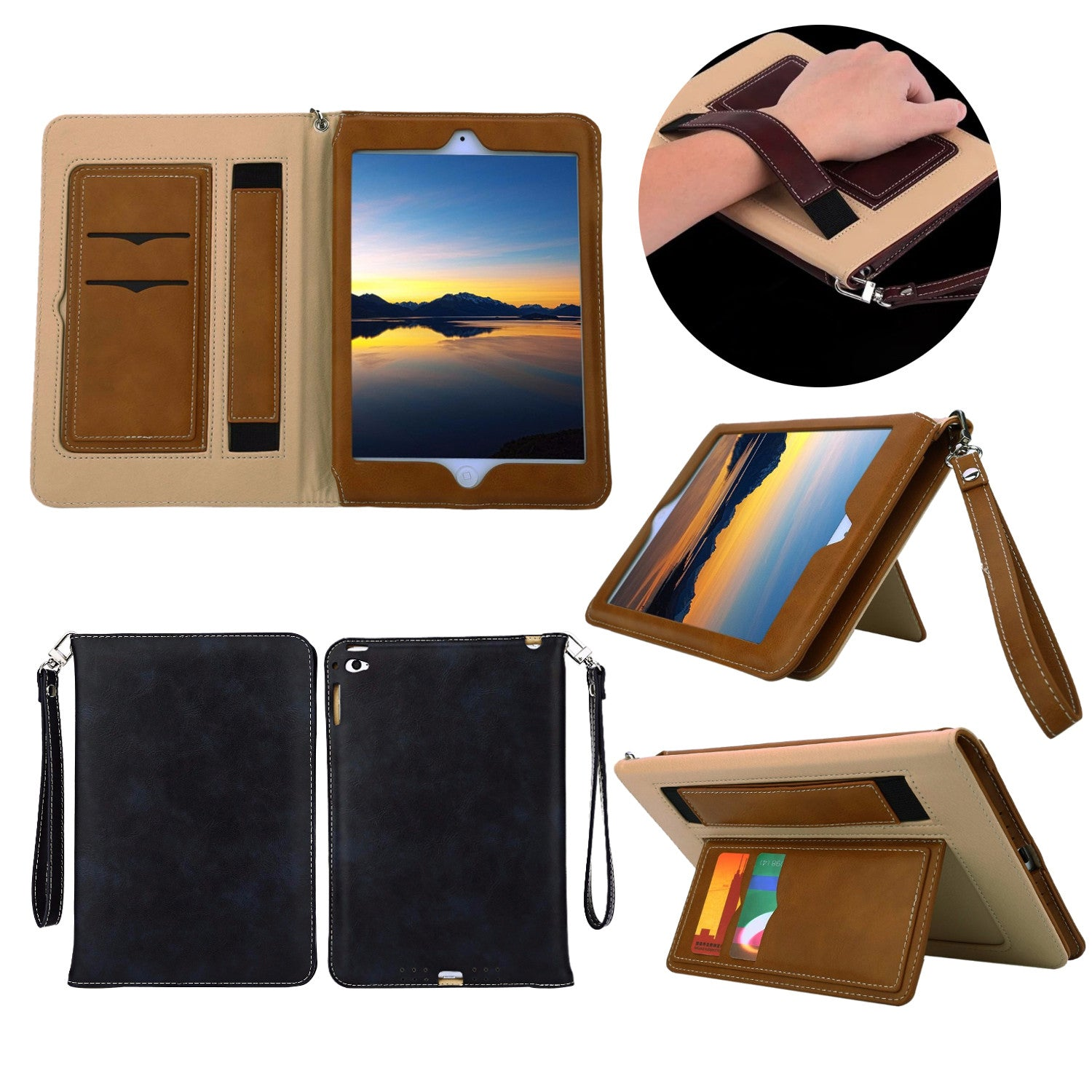 Multifunction Lanyard Card Slot Stand Holder Leather Case For iPad Mini 1 2 3