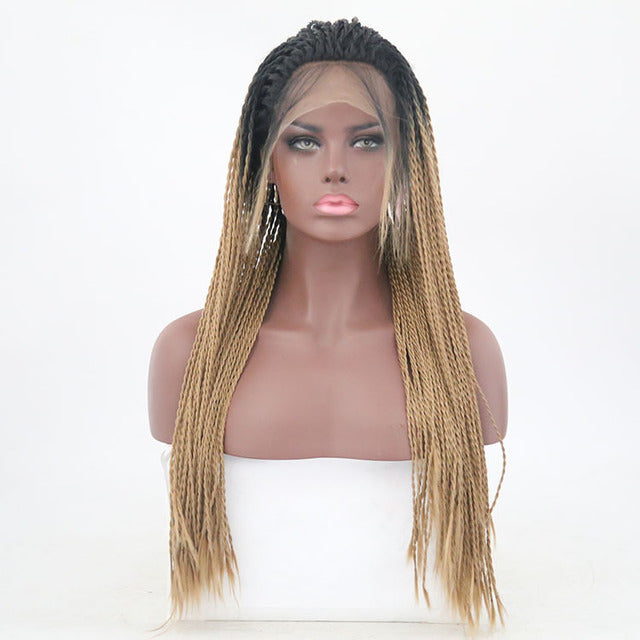 Black African Scorpion Twisted Viscera Stained Front Lace Wig