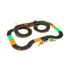 HZ Hand-Dynamo Motor Track Toy Double Competitive Toys with Lamp