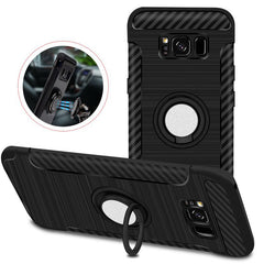 360º Rotating Stand Holder Brushed Finish Carbon Fiber Texture Case For Samsung Galaxy S8 Plus 6.2