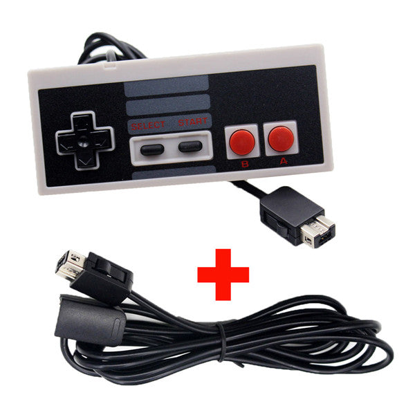 Black Controller Gamepad With Extension Cable For Nintendo NES Mini Classic Edition