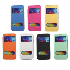 Front View Window Flip Leather Hard Case For Samsung S5 i9600
