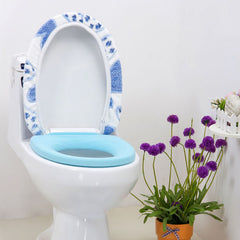 Coral Fleece Blue Heart Shape Closestool Mat Toilet Seat Cover Twinset
