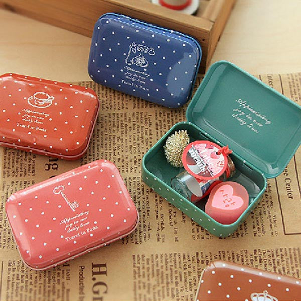 Wave Point Tinplate Tea Box Gift Candy Jewelry Storage Tin Can