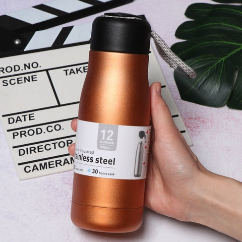 Small Capacity Small Rope Carrying Double Stainless Steel Insulation Cold Creative Logo Water Cup