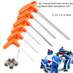 6Pcs T-Handle Ball Ended Hex Key Set Long Reach Allen Screwdriver Wrench Tool 22.53568mm