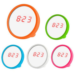 Stylish Cosmetic Mirror LED Alarm Clock Desktop Small Mirror Clock