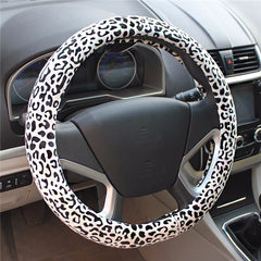 Car Full Leopard Print Steering Wheel Cover Winter Warm Short Plush Grip 38CM