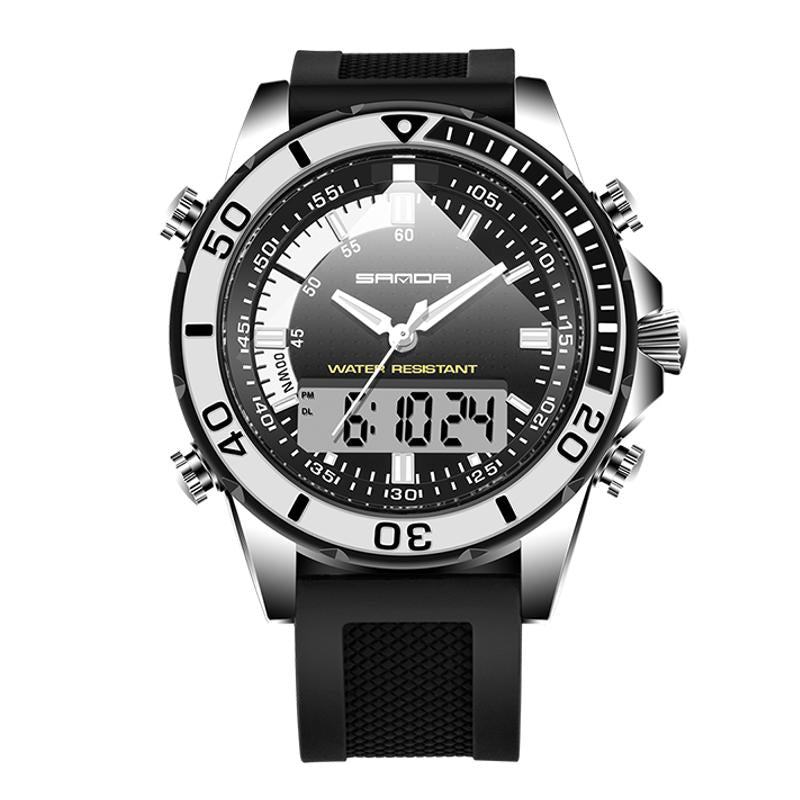 Wil je alles weten over SANDA 003 Fashion Men LED Dual Display Watch Silicone Strap Swimming Diving Sport Watch? Hier lees je alles over Jewelry and Watch Quartz Watches