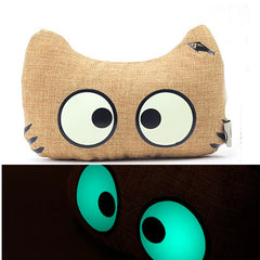 WenTongZi Cartoon Cat Head Rest with Glowing Effect Car Front Seat Head Rest Pillow