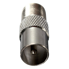 Silver F Type Female Screw Plug To TV Aerial RF Male Connector Adapter