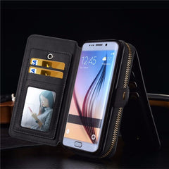 BRG Universal Removable Functional Wallet Case PU HandBag Zipper Cover for Samsung Galaxy S6 edge