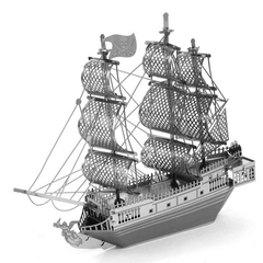Aipin DIY 3D Puzzle Stainless Steel Model Kit Black Pearl Pirate Ship Silver Color