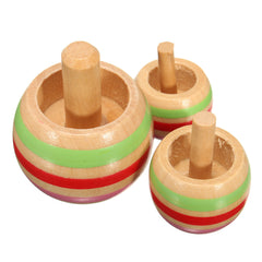 3 × Spinning Retro Levitron Toy Kinetic Science Turn Upside Down Wooden Gyro