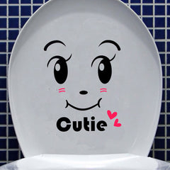 Cutie Smiley Face Closestool Stickers Removable Waterproof Toilet Seat Decor
