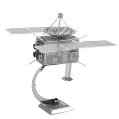 Aipin DIY 3D Puzzle Stainless Steel Assembled Model Kit Artificial Satellite Silver Color
