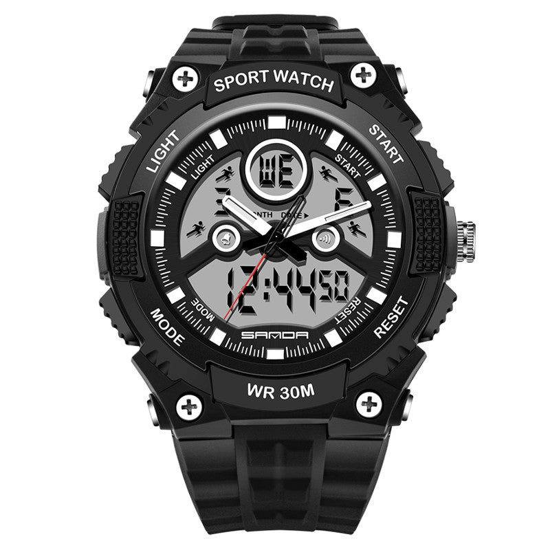 Wil je alles weten over SANDA 709 Dual Display 30M Waterproof Outdoor Sport Military Fashion LED Digital Watch? Hier lees je alles over Jewelry and Watch Quartz Watches