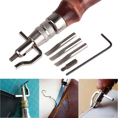 KCASA 5 In1 DIY Wood Leather Craft Adjustable Pro Stitching Groover Crease Leather Tools Set