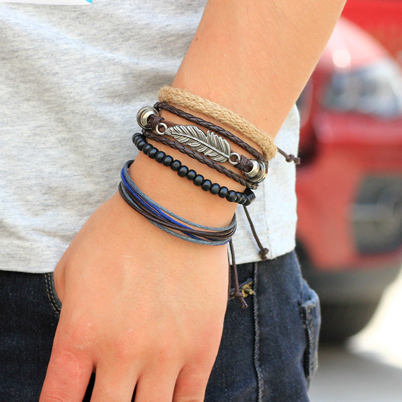 Multi Layer Leaves Bracelet Handmade Leather Bracelet Retro Style Bracelet For Men