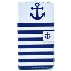 Blue White Stripe Anchor Leather Case For Samsung NOTE 3 N9000