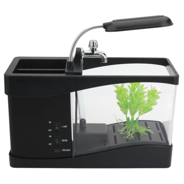 USB Mini Fish Aquarium With Desktop Lamp LCD Time Display Brush Pot