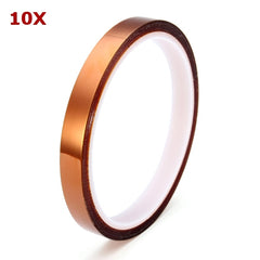 10Pcs 10mm High Temperature Polyimide Film Heat Resistant Tape
