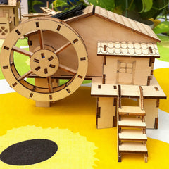 DIY Solar Power Waterwheel Windmill Carousel Puzzle Building Toy Kit