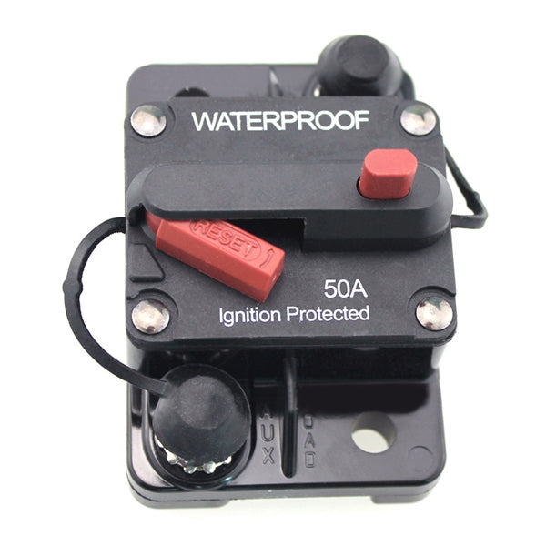 50A Car Boat RV Ignition Protected Switch Manual Reset Circuit Breaker Resettable Fuse Holder