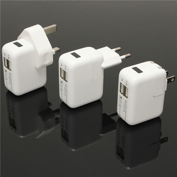 Dual USB 2 Port Wall Plug Charger Power Adapter For Samsung iPhone iPod iPad