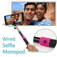 Extendable Shutter Hand-held Selfie Stick Monopod Audio Cable For IOS