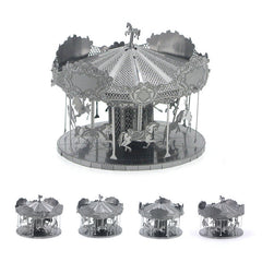 Aipin 3D DIY Mental Puzzle Stainless Steel Assembled Model Merry-Go-Round For Kids Children Gift