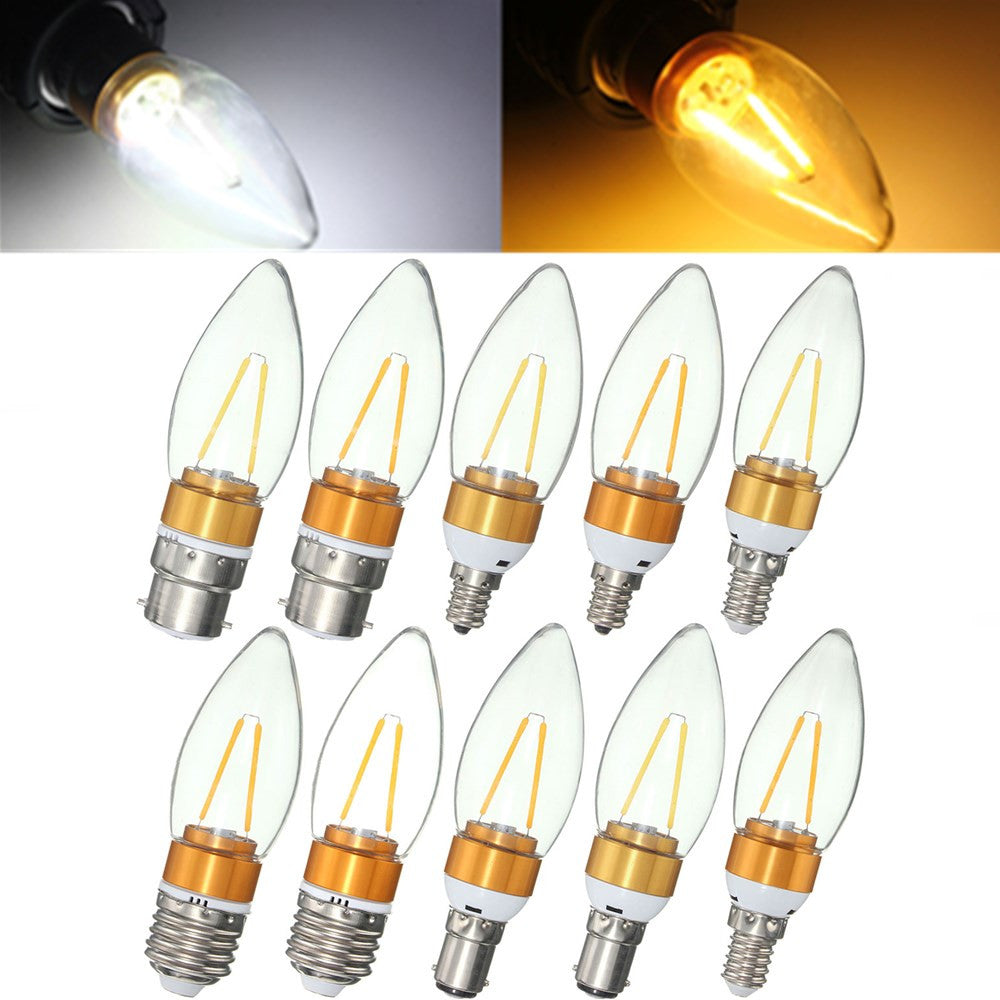 Non-Dimmable E27 E14 E12 B22 B15 2W Filament Incandescent Candle Light Bulb Lamp 220V