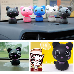 5 Colors Mini Cat Ornaments Car Adornment Decoration With Automatic Swing