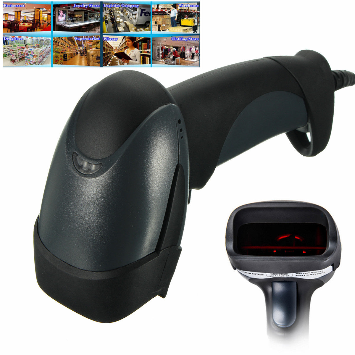 Handheld USB Port Laser Barcode Scanner Bar Code Reader For POS Computer Shop