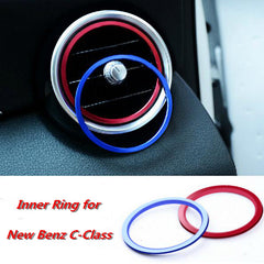 7pcs/Set Air Conditioning Vent Decorative Ring for New Benz C-Class C180L C200L C260L 2015 Interior