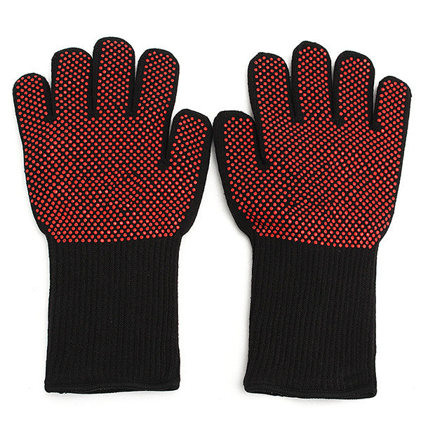 1 Pair Heat Resistant Gloves Hot Protective Pot Heatproof Glove BBQ Grill Kitchen Oven Mitts Tools