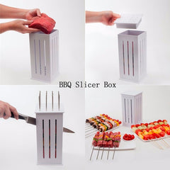 16 Holes DIY BBQ Slicer Box Food Meat Vegetable Slicer Box Portable Barbecue Grill Kebab Tool