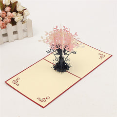 3D Pop Up Greeting Card Treasure Bowl Paper Card DIY Birthday Wedding Postcard Gift