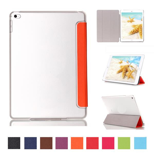 Fashion PU Leather Protective Case Clear Transparent Smart Back Cover For iPad mini 4