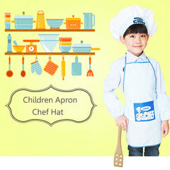 Children Apron Chef Hat Kids Craft Art Cooking Baking Painting Baby Pinafore