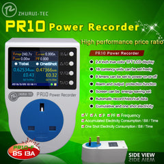 PR10-F 13A UK Plug Electricity Energy Meter Power Metering Socekt KWH Meter Watt Meter Power Recorder 0.1~3250W
